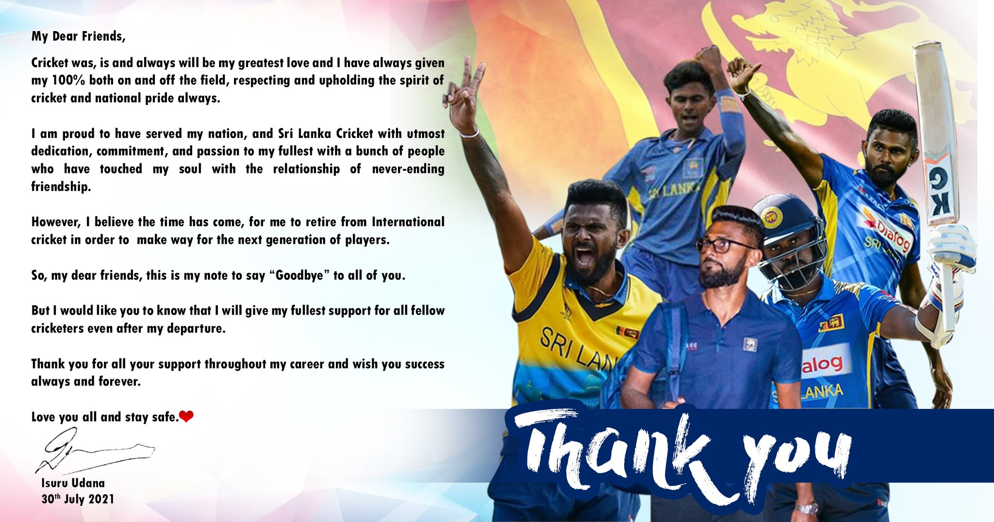 Isuru Udana's message to Cricket fans : Explains why he retired