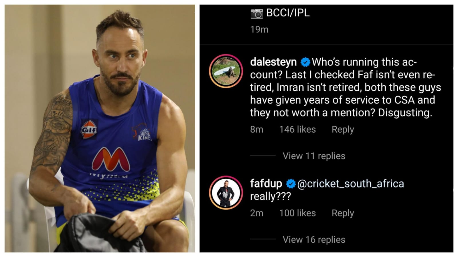 Faf & Steyn angry about Cricket South Africa's IPL post
